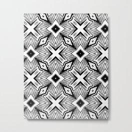 Black and White - Woodcut Etching Cross Geometric Metal Print