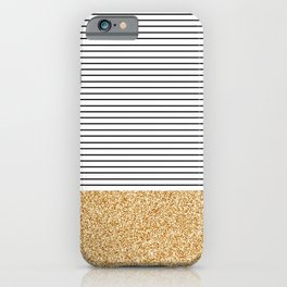 Minimal Gold Glitter Stripes iPhone Case