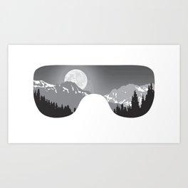 Moonrise Goggles - B+W - White Frame | Goggle Designs | DopeyArt Art Print