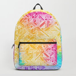 Warm Fall Rainbow Gradient (Violet Blue Yellow Red) Geometric Pattern Print Design Backpack