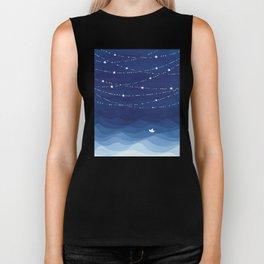 night sky, ocean painting Biker Tank