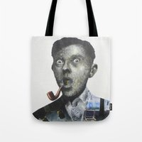 magritte Tote Bags featuring Magritte by Regina Jean