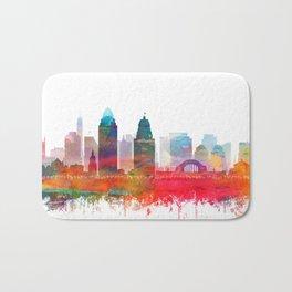 Cincinnati Skyline Watercolor by Zouzounio Art Bath Mat