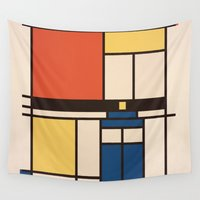 mondrian Wall Tapestries featuring Mondrian Who by Perdita