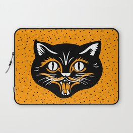 Vintage Type Halloween Black Cat Face Stars Orange Laptop Sleeve