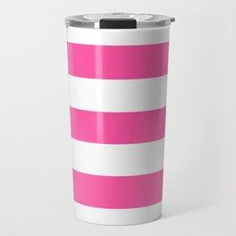 Brilliant rose -  solid color - white stripes pattern Travel Mug