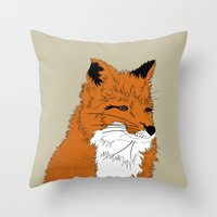 mr fox Throw Pillows featuring Mr Fox by Simone Clark