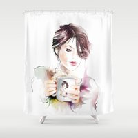 cup Shower Curtains featuring cup by tatiana-teni