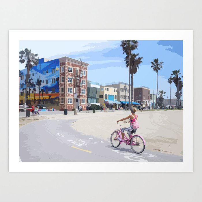 Riding bike in Venice Beach Art Print