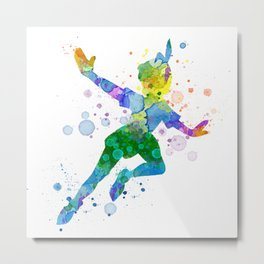 Watercolor Peter Pan Metal Print