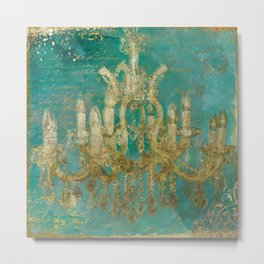 Gold and Peacock Chandelier Metal Print
