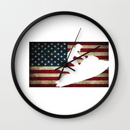 Jet Ski USA Flag Athletic Beach Summer Sports Wall Clock