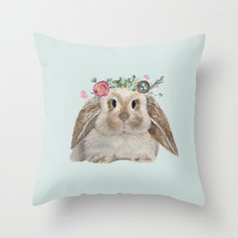 Spring Bunny with Floral Crown Throw Pillow