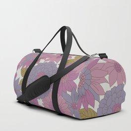 Pink & Purple Retro Floral Pattern Duffle Bag