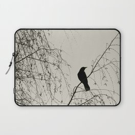 Crow in the Willow - Graphic Birds Series, Plain - Modern Home Decor Laptop Sleeve