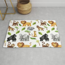 Safari Animals Pattern Watercolor Rug