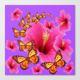 DECORATIVE MONARCH BUTTERFLIES  PINK HIBISCUS   PURPLE ART Canvas Print