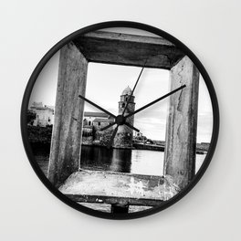 Medieval Collioure Church | Notre-Dame-des-Anges Mediterranean Coast France Black and White Wall Clock
