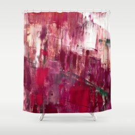 Sunset in the Valley [2]: a colorful abstract piece in reds, pink, gold, gray, and white Shower Curtain