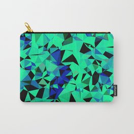 geometric triangle pattern abstract in green blue black Carry-All Pouch