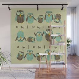 Energetic Owls Wall Mural