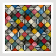 buttoned patches Art Print