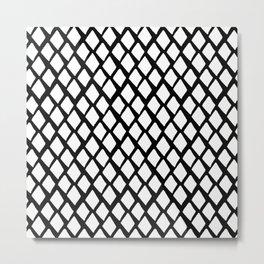 Rhombus White And Black Metal Print