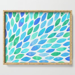 Watercolor brush strokes burst - turquoise and blue Serving Tray