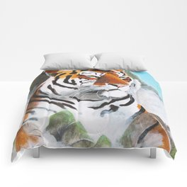 Quiet Tiger - big cat - animal - by LiliFlore Comforters