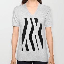 Black and White Zebra Unisex V-Neck