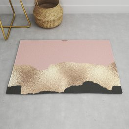 Rose Gold Glitter Black Pink Abstract Girly Art Rug