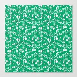 Jade Green Floral Pattern Canvas Print