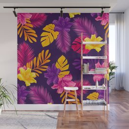 purple yellow leaves and flowers Wall Mural