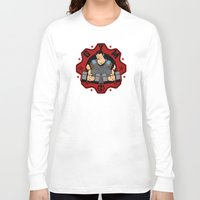 gym Long Sleeve T-shirts featuring GoW Gym by Buby87