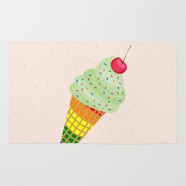 Colorful Ice Cream Cone Design Rug