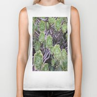succulents Biker Tanks featuring Succulents by AM Prono