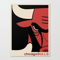 chicago bulls Canvas Prints featuring Bulls by racPOP