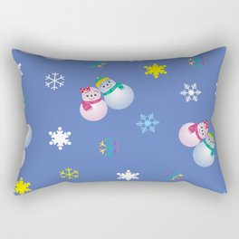 Snowflakes & Pair Snowman_C Rectangular Pillow