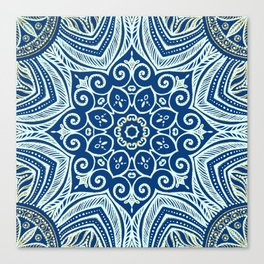 Blue and Gold  flowers pattern Canvas Print