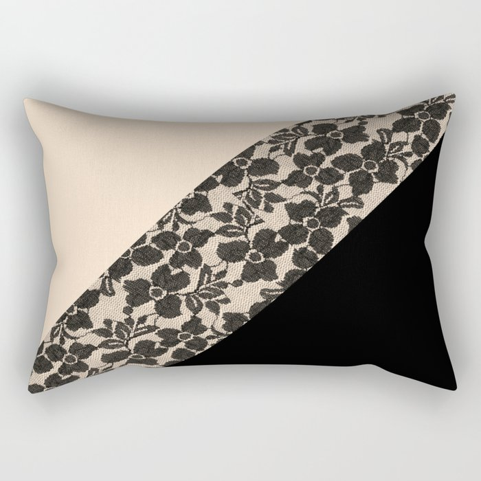 Elegant Peach Ivory Black Floral Lace Color Block Rectangular Pillow