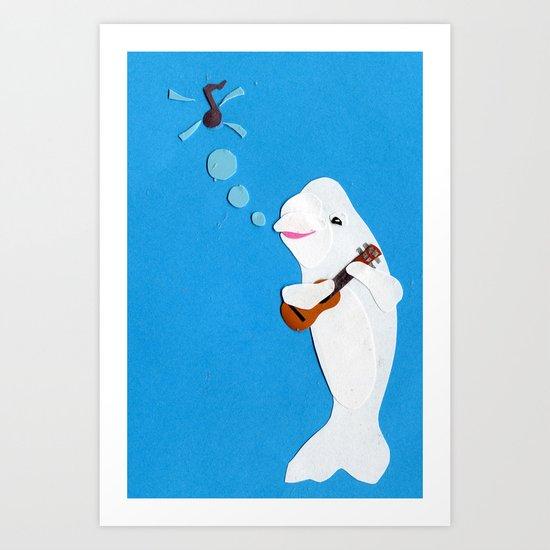 Beluga Whale Playing the Ukulele Art Print
