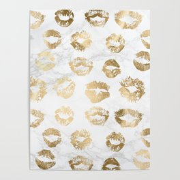 Fashion Lips Gold Lipstick on Marble Poster