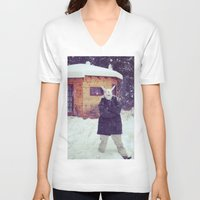montana V-neck T-shirts featuring Montana by Art Department Bunny
