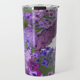 Unicorn in a Purple Garden Travel Mug