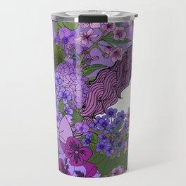 Unicorn in a Purple Garden Travel Mug