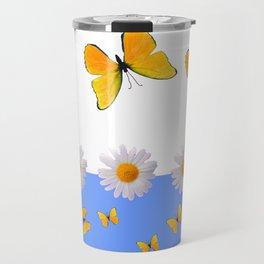 BLUE MODERN ART YELLOW BUTTERFLIES & WHITE DAISIES Travel Mug