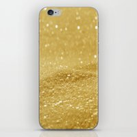 gold glitter iPhone & iPod Skins featuring Glitter Gold by Alice Gosling