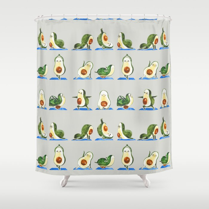 Avocado Yoga Watercolor Shower Curtain