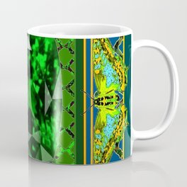 DECORATIVE  GREEN EMERALD GEM & BUTTERFLY ART DESIGN Coffee Mug