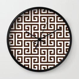 Dark Brown and White Greek Key Pattern Wall Clock